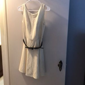 CREAM AND GOLD BELTED FIT AND FLARE DRESS